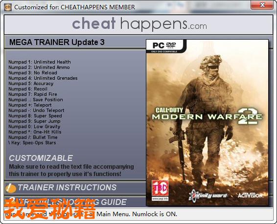 点此下载《使命召唤6:现代战争2》update 3修改器   相关内...