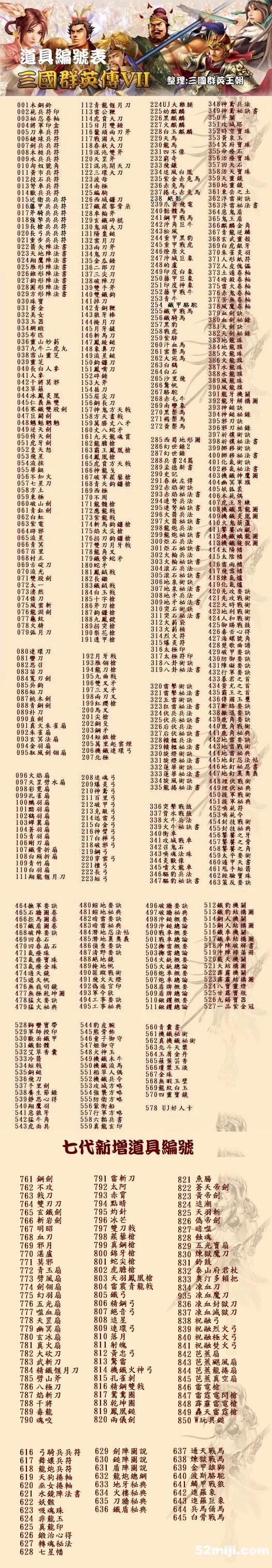 三国群英传7道具编号(图片)